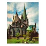 Vintage catedral de Noruega, Strondheim Tarjetas Postales