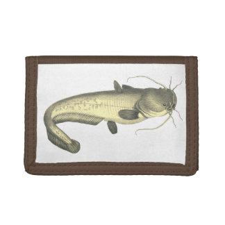 Vintage Catfish Illustration Trifold Wallet
