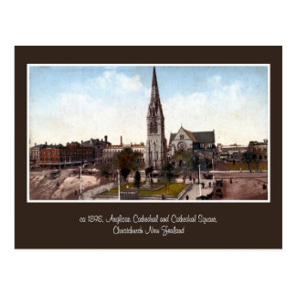 vintage cathedral square Christchurch NZ Post Card