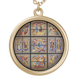 Vintage Cathedral Stained Glass Window Gold Plated Necklace