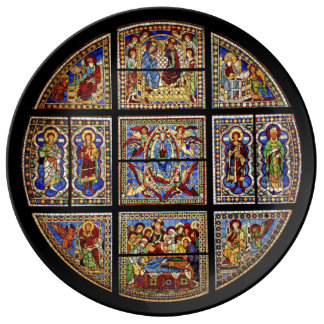 Vintage Cathedral Stained Glass Window Porcelain Dinner Plate