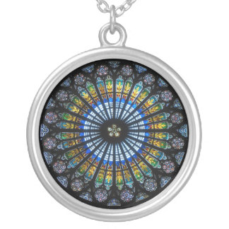 Vintage Cathedral Stained Glass Window Round Pendant Necklace