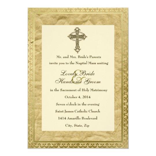 vintage catholic cross wedding invitation - Catholic Wedding Invitations