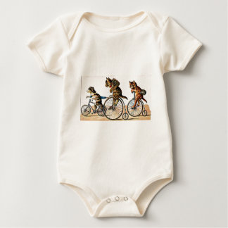 Vintage Cats and Dog on a Bike Baby Bodysuit