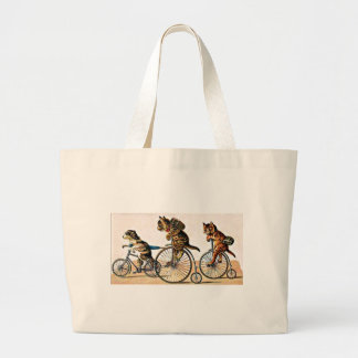 Vintage Cats and Dog on a Bike Bags