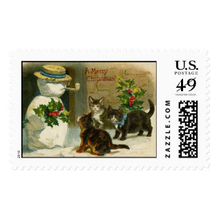 Vintage Cats And Snowman Postage Stamp at Zazzle