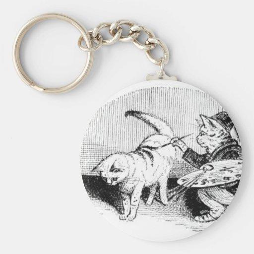 Vintage Cats Basic Round Button Keychain
