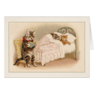 Vintage Cats Bedtime Story Note Card