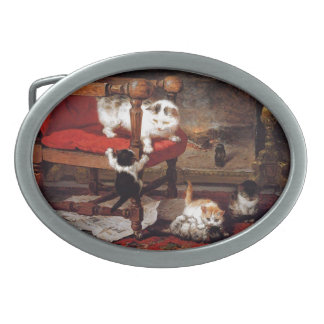 Vintage Cats by the fireplace Belt Buckles