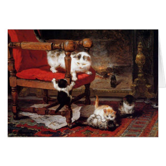 Vintage Cats by the fireplace Card