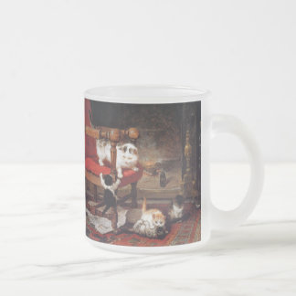 Vintage Cats by the fireplace Frosted Glass Coffee Mug
