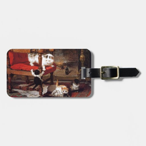 Vintage Cats by the fireplace Luggage Tags