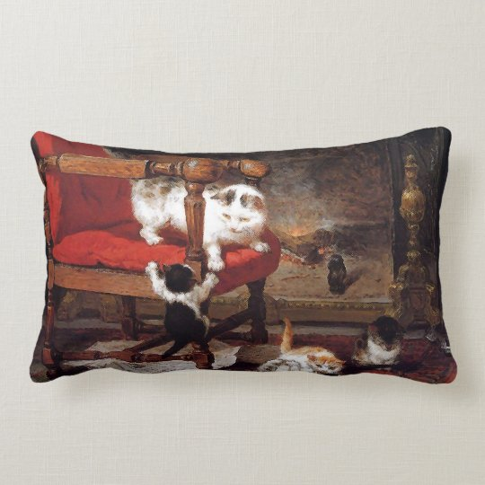 Vintage Cats by the fireplace Lumbar Pillow