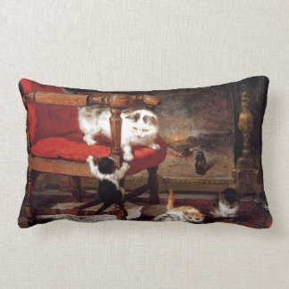 Vintage Cats by the fireplace Throw Pillow