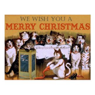 Vintage Cats Christmas Greeting Postcard