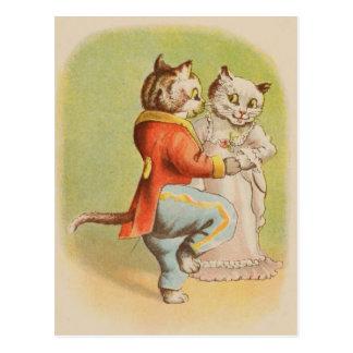 Vintage Cats Dancing Postcard