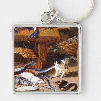 Vintage Cats eating Crustaceans Keychain