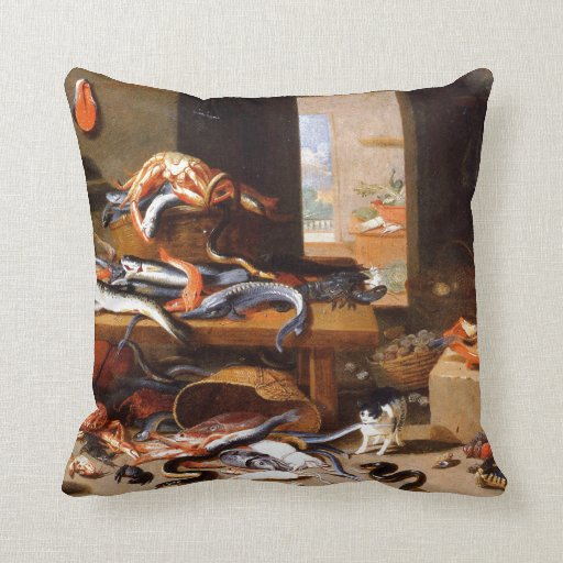 Vintage Cats eating Crustaceans Pillows