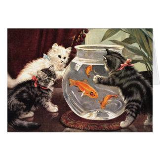 Vintage Cats & Goldfish Notecard