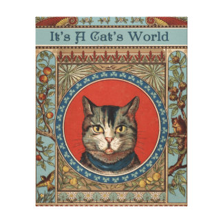 Vintage Cat's Life for Kitty Lovers Canvas Print