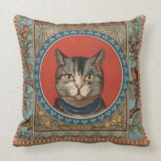 Vintage Cat's Life for Kitty Lovers Throw Pillows
