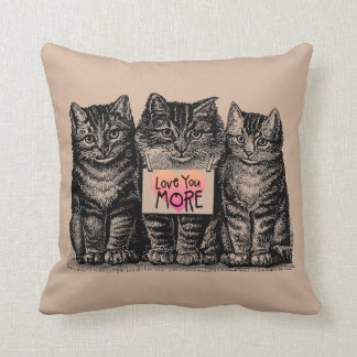 "Vintage Cats ""Love You More"" Throw Pillow"