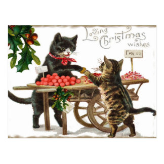 Vintage Cat's Loving Christmas Wishes Post Card