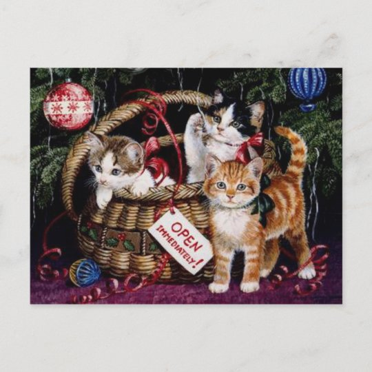 vintage cats merry christmas post card - Merry Christmas Post