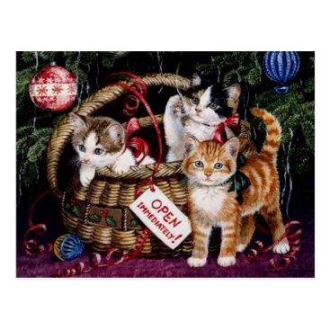 Christmas Themed Vintage Cat's Merry Christmas Post Card