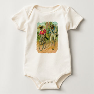 Vintage Cats on Bicycle Baby Bodysuit