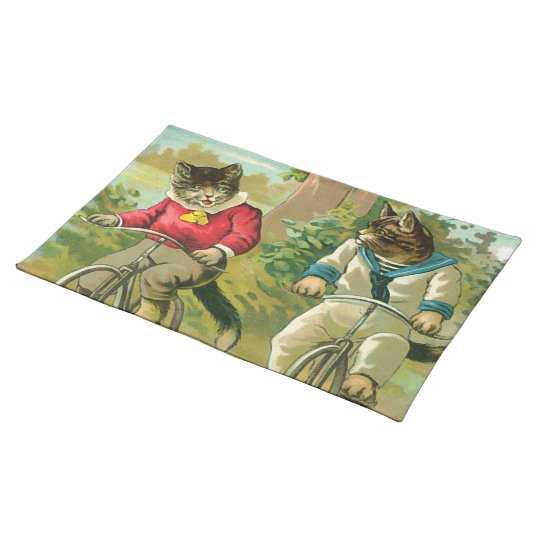 Vintage Cats on Bicycle Cloth Placemat