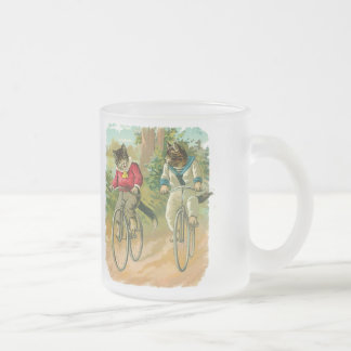 Vintage Cats on Bicycle Frosted Glass Coffee Mug