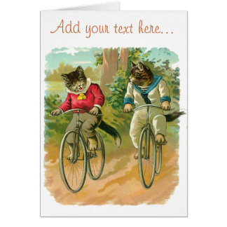 Vintage Cats on Bicycle Greeting Cards