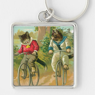 Vintage Cats on Bicycle Keychain