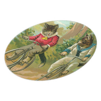 Vintage Cats on Bicycle Melamine Plate