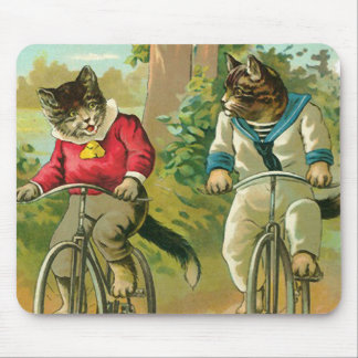Vintage Cats on Bicycle Mouse Pad