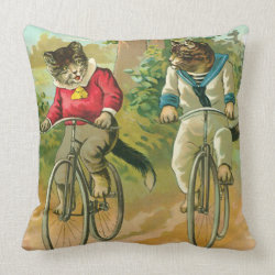 Cata Pillows Vintage Cats on Bicycle Pillow