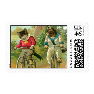 Vintage Cats on Bicycle Postage Stamp