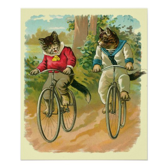 Vintage Cats on Bicycle Poster
