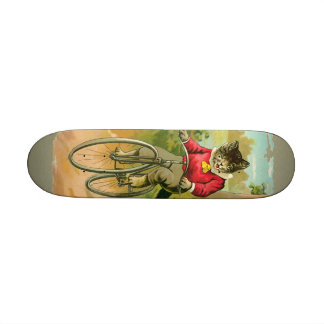 Vintage Cats on Bicycle Skateboard