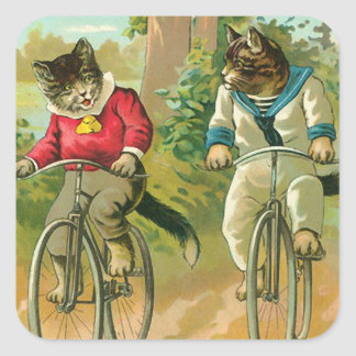 Vintage Cats on Bicycle Square Sticker