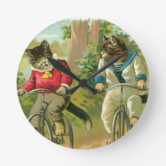 Vintage Cats on Bicycle Wall Clock