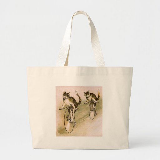 Vintage Cats on Bikes Large Tote Bag