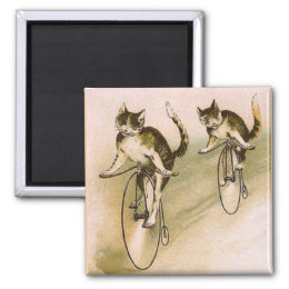 Vintage Cats on Bikes Magnet