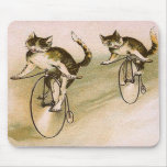 Vintage Cats on Bikes Mouse Mats