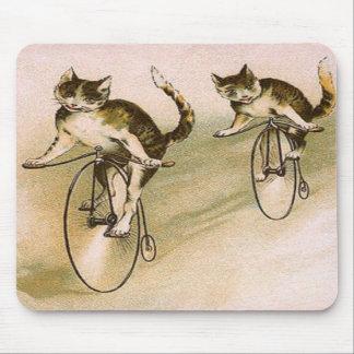 Vintage Cats on Bikes Mousepad
