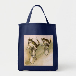 Vintage Cats on Bikes Tote Bag
