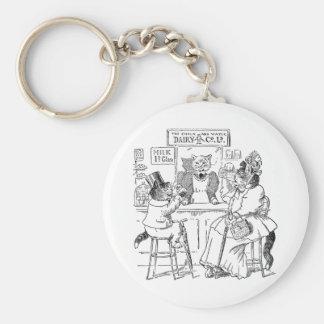 Vintage Cats on Stools Drinking Milk Basic Round Button Keychain