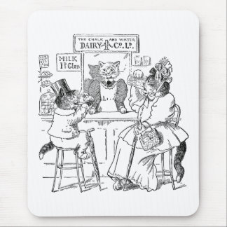 Vintage Cats on Stools Drinking Milk Mouse Pad