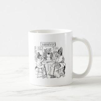 Vintage Cats on Stools Drinking Milk Coffee Mug